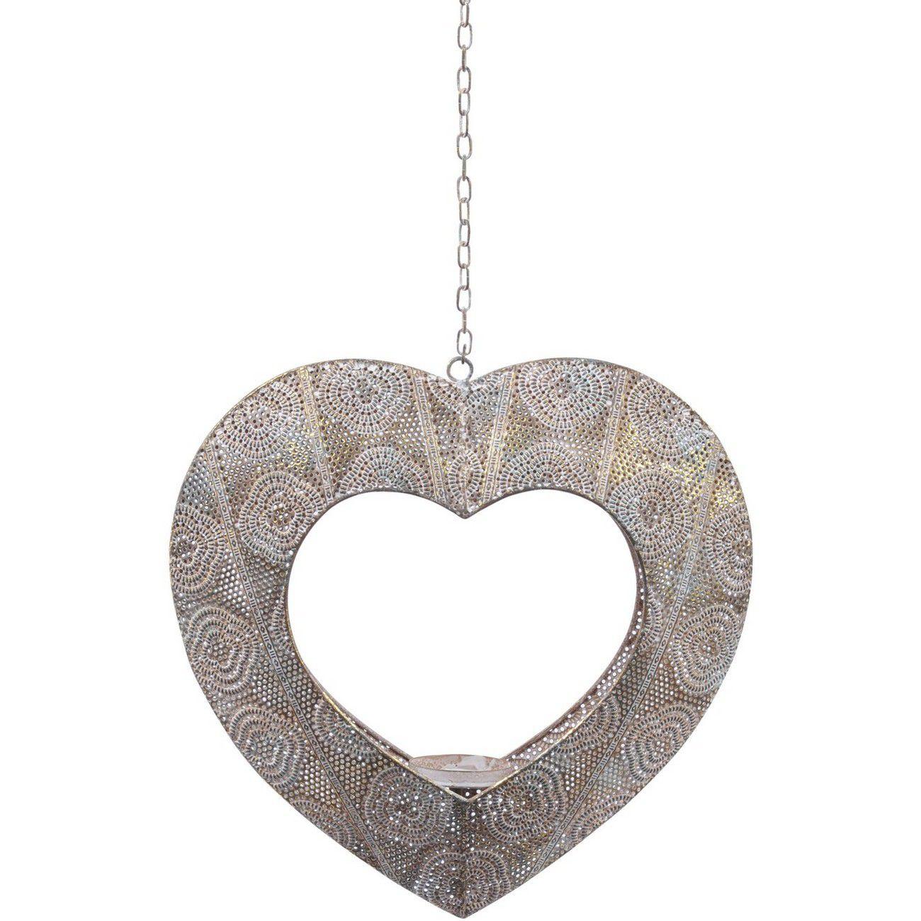 Filigree Large Light Silver Hanging Heart Tealight Holder thumbnail