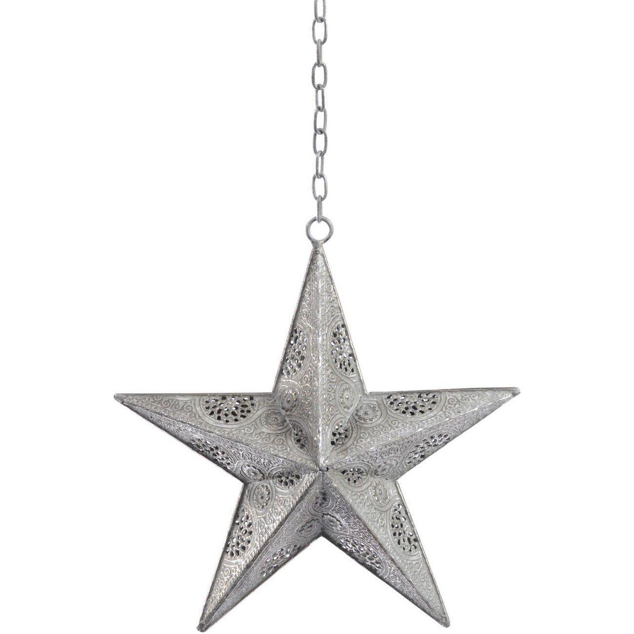 Filigree Small Silver Hanging Star - Xmas thumbnail