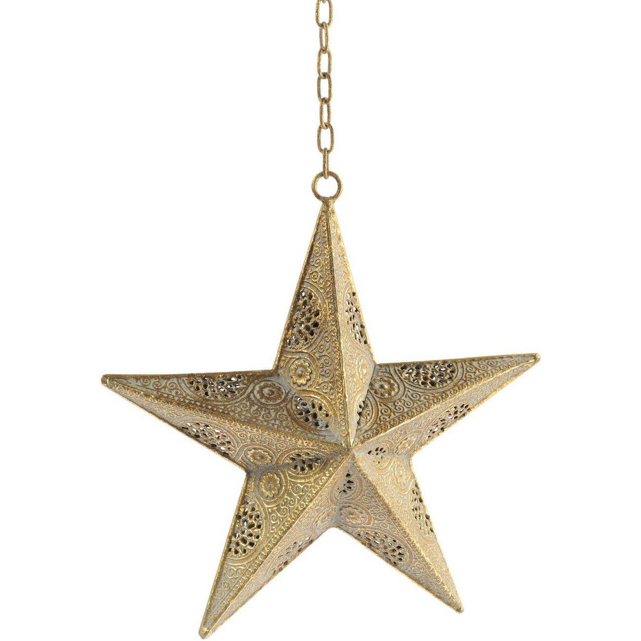 Filigree Small Gold Hanging Star - Xmas thumbnail
