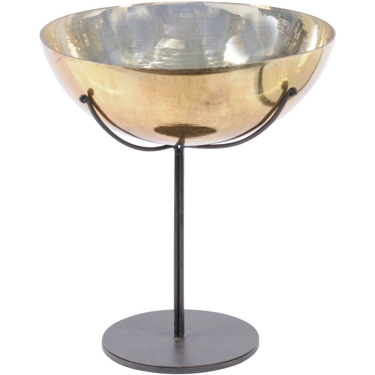 Metallic Gold Large Round Bowl On Stand - Xmas thumbnail