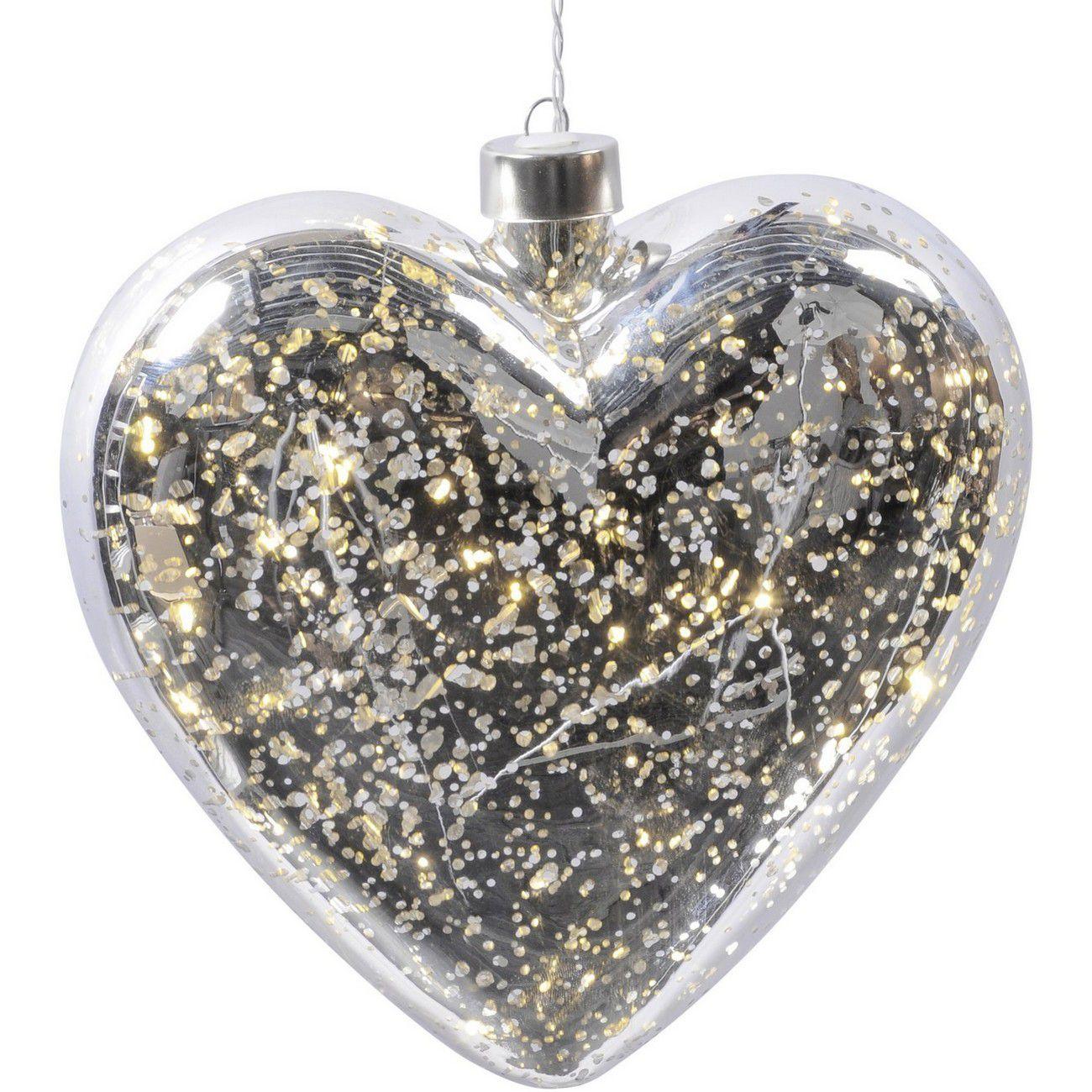 LED Small Silver Hanging Heart - Xmas thumbnail