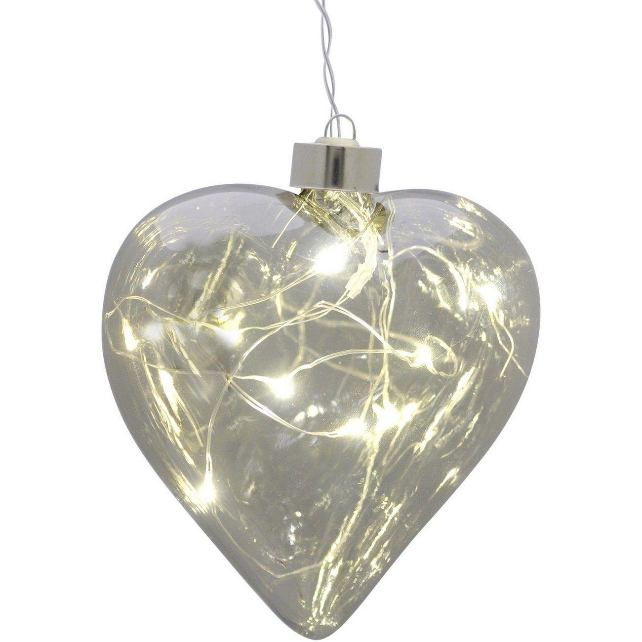 LED Small Smoke Grey Hanging Heart - Xmas thumbnail