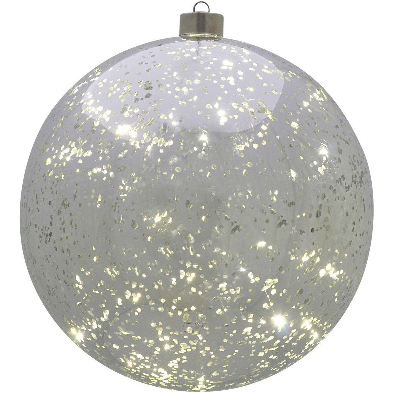 LED Large Silver Hanging Ball - Xmas thumbnail