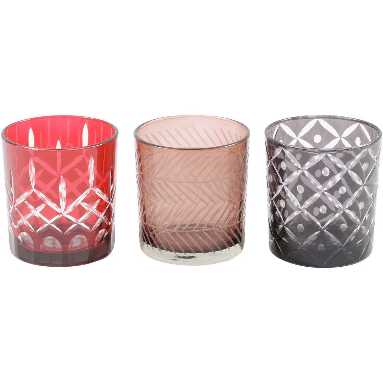 Small Set Of 3 Grey, Brown And Red Cut Votives thumbnail