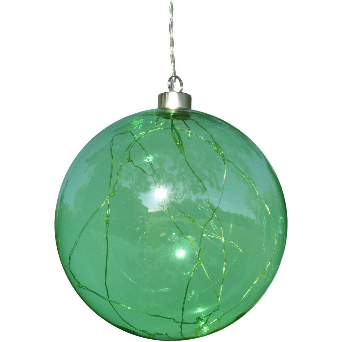 LED Metallic Green Glass Ball - Xmas-20 thumbnail