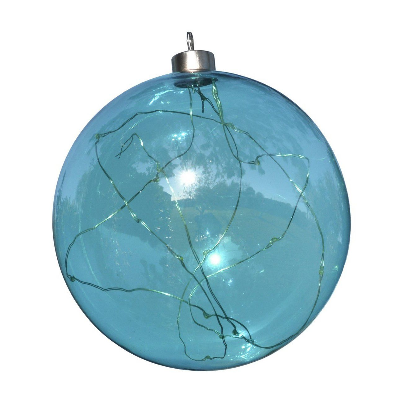 LED Metallic Blue Glass Ball - Xmas-20 thumbnail