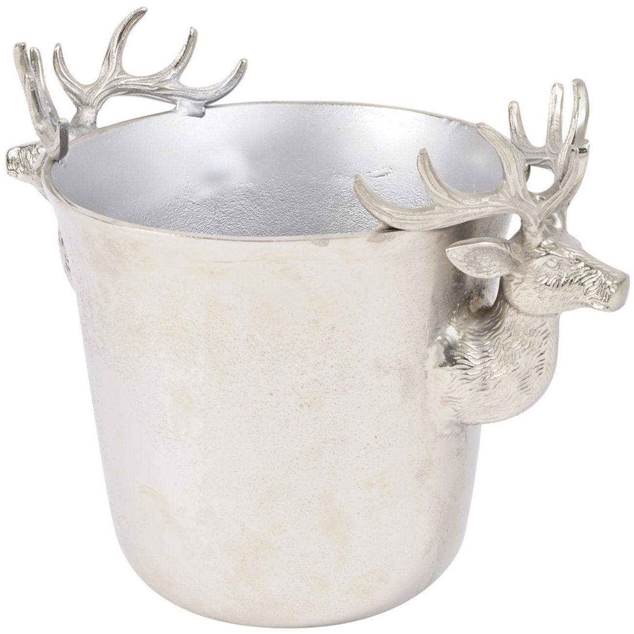 Textured Silver Reindeer Wine Bucket - Xmas thumbnail