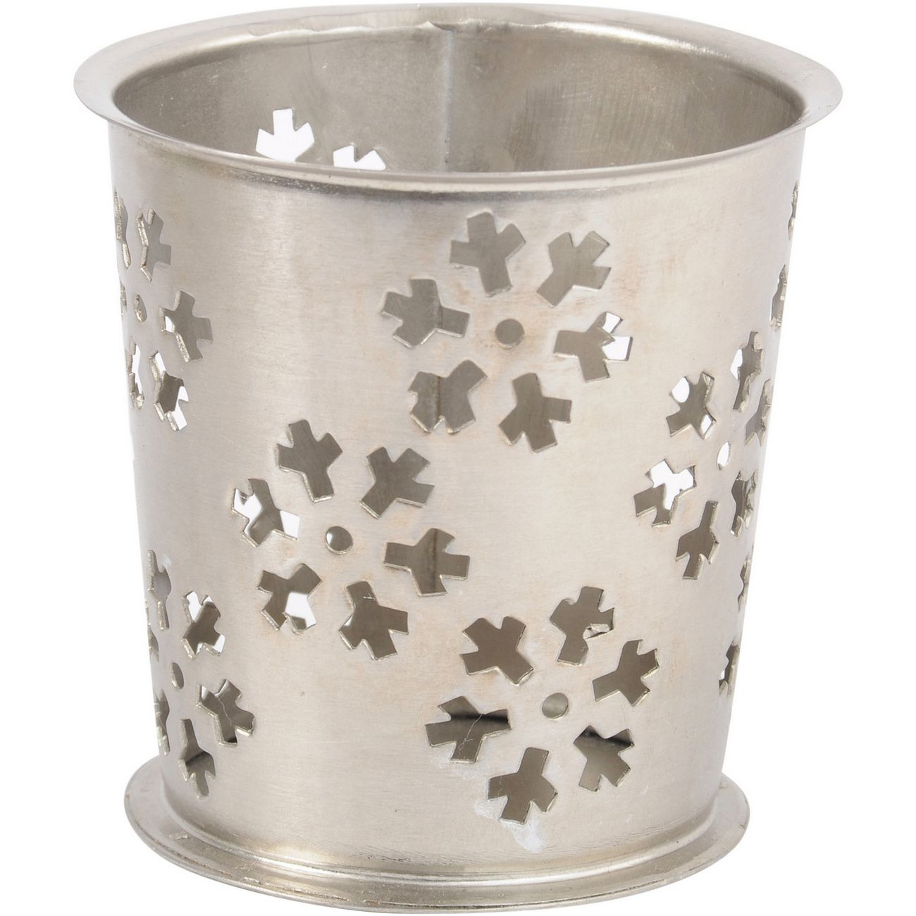 Antique Silver Small Cut Out Snowflake Votive - Xmas thumbnail
