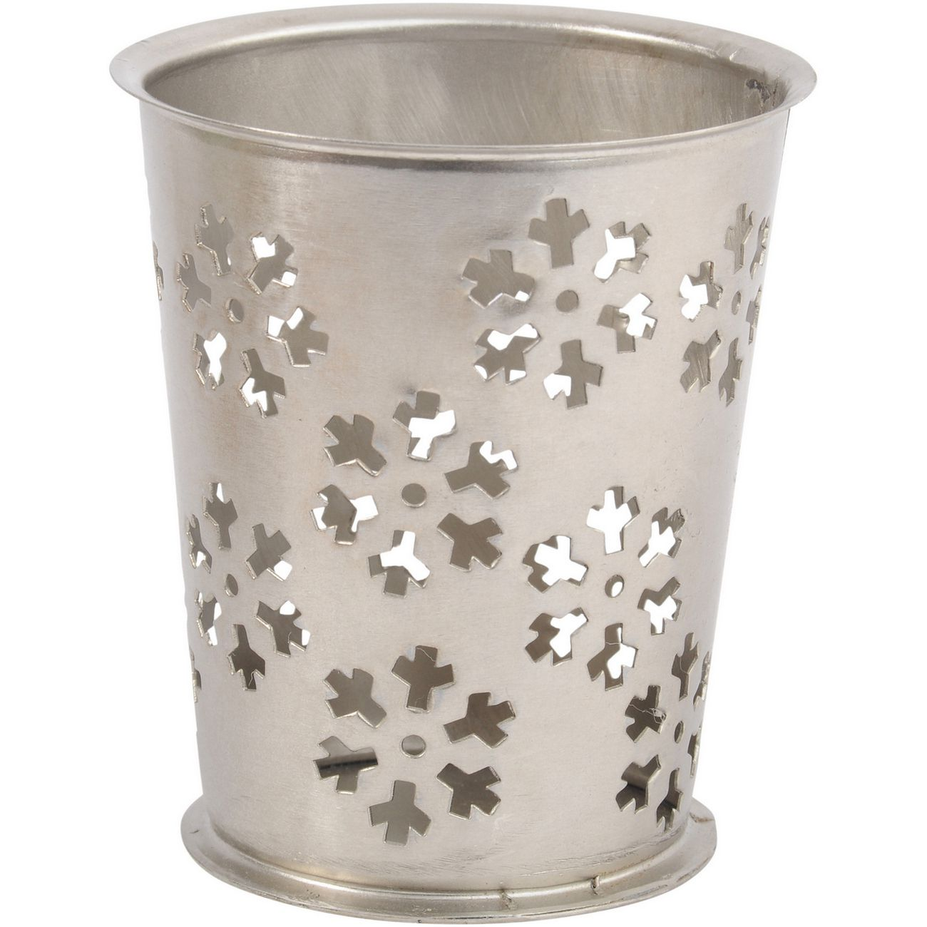 Antique Silver Large Cut Out Snowflake Votive - Xmas thumbnail