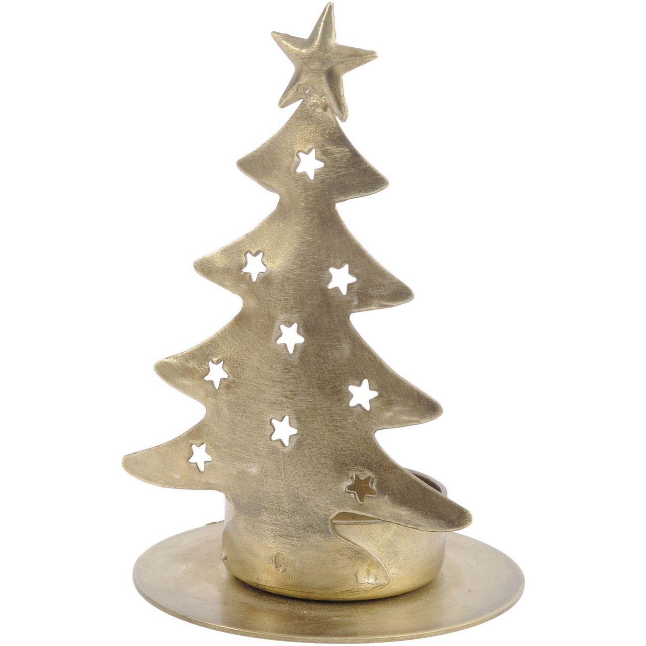 Antique Brass Tree Small Tealight Holder - Xmas-19 thumbnail