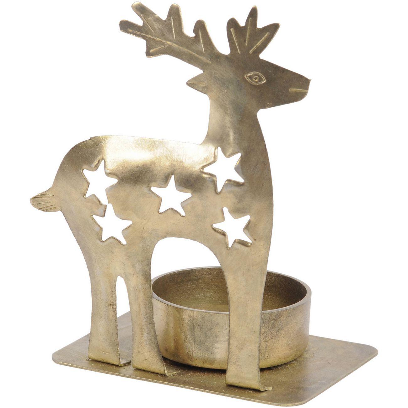 Antique Brass Reindeer Tealight Holder - Xmas-19 thumbnail