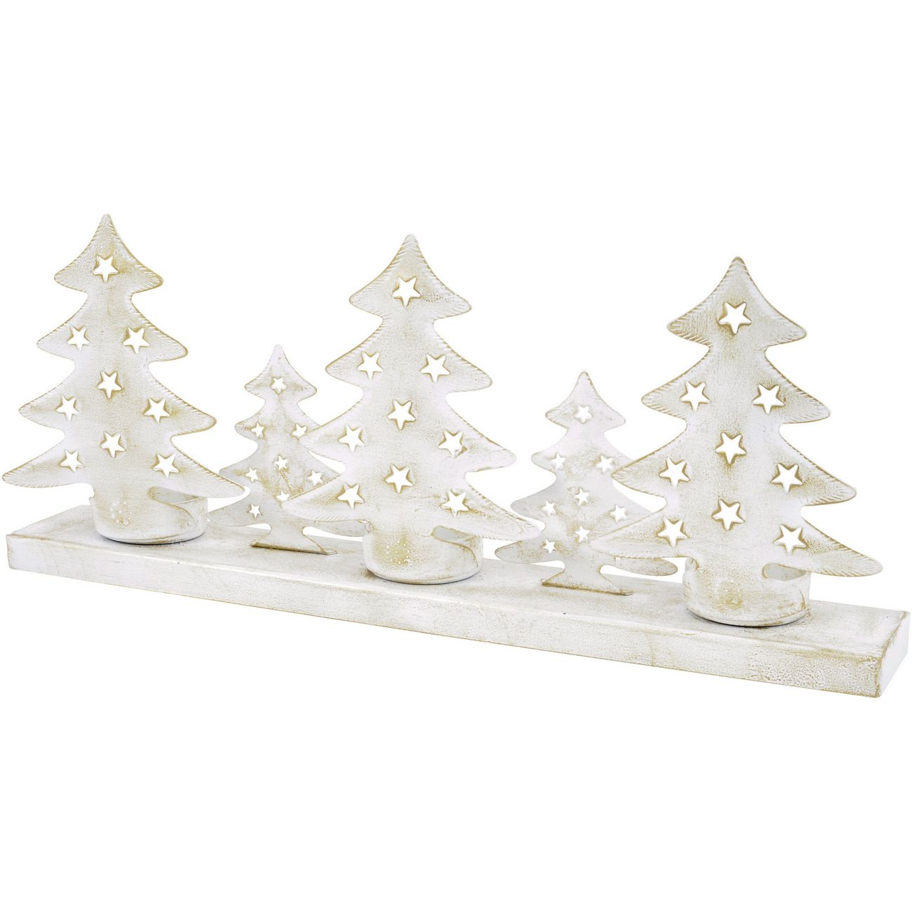 Antique White Tree Scene Tealight Holder - Xmas thumbnail