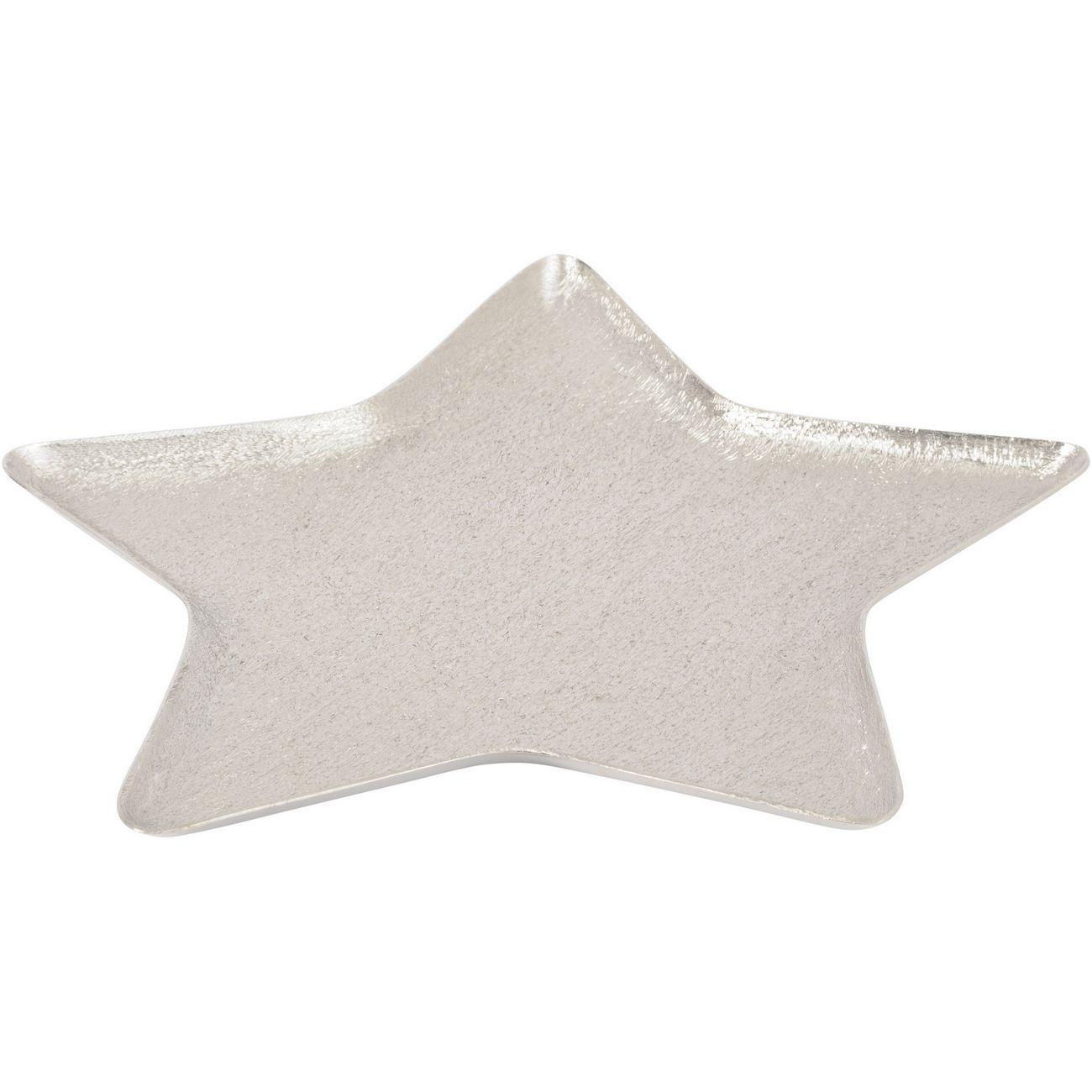 Brushed Silver Aluminium Large Star Platter - Xmas thumbnail