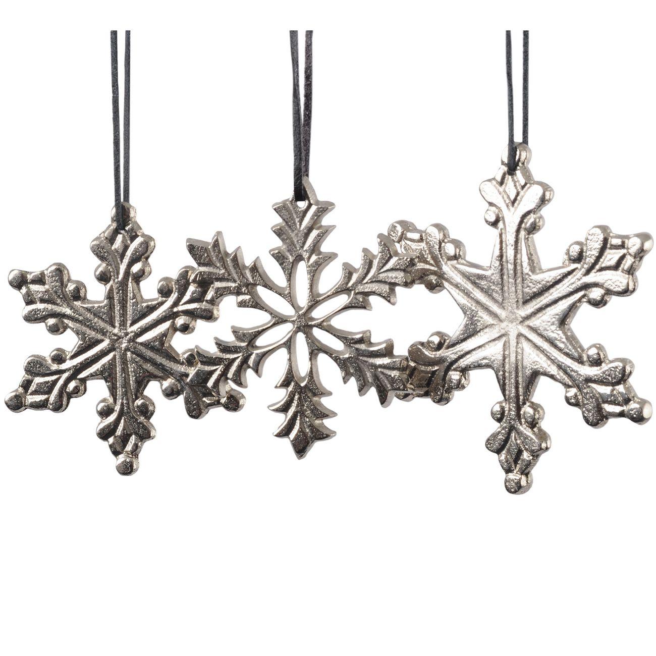Texture Silver Set Of 3 Hanging Snowflakes thumbnail