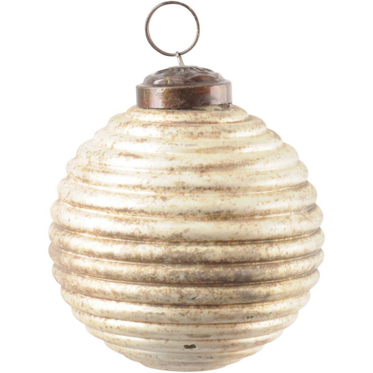 Antique Bronze Ribbed Small Sphere Ornament thumbnail