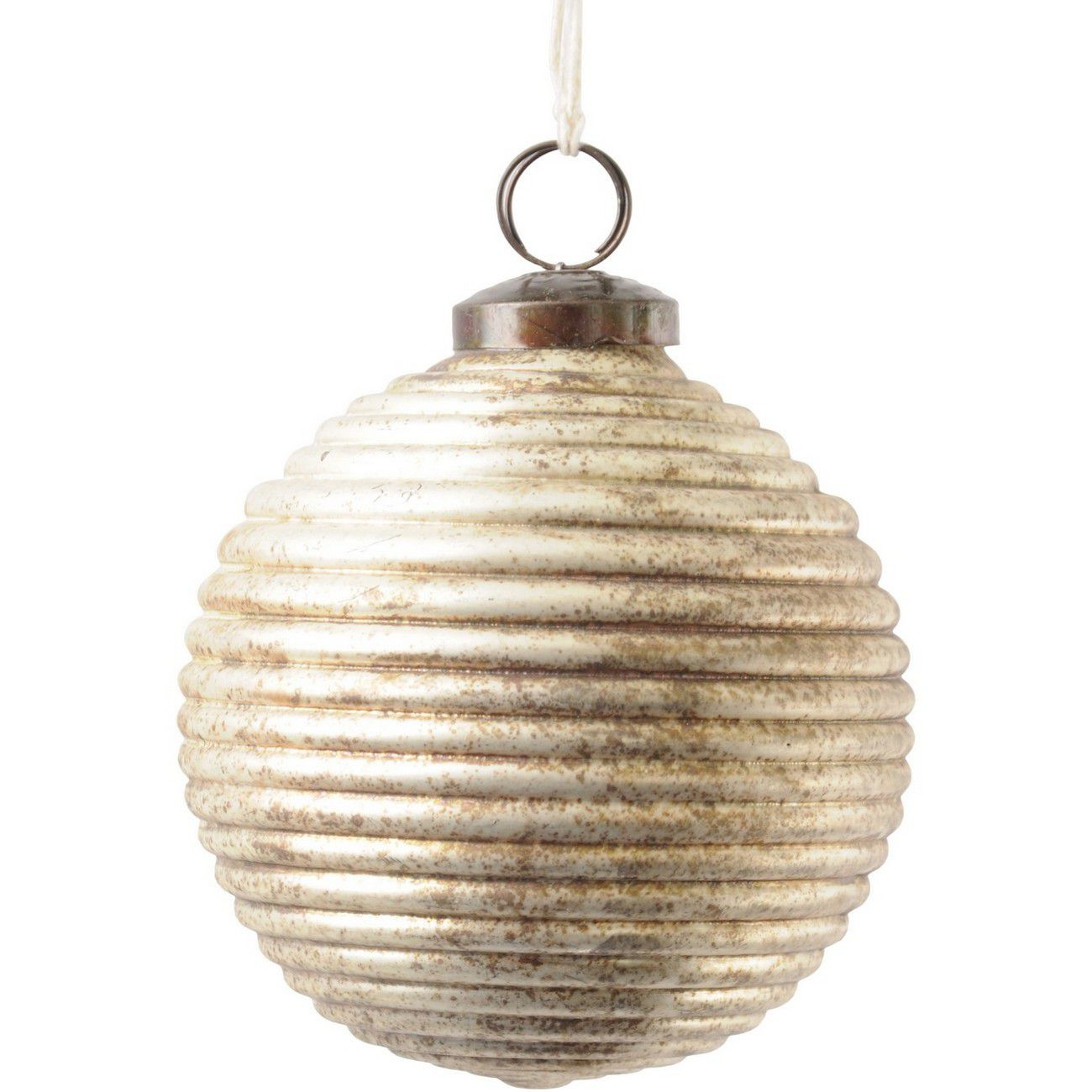 Antique Bronze Ribbed Medium Sphere Ornament - Xmas thumbnail