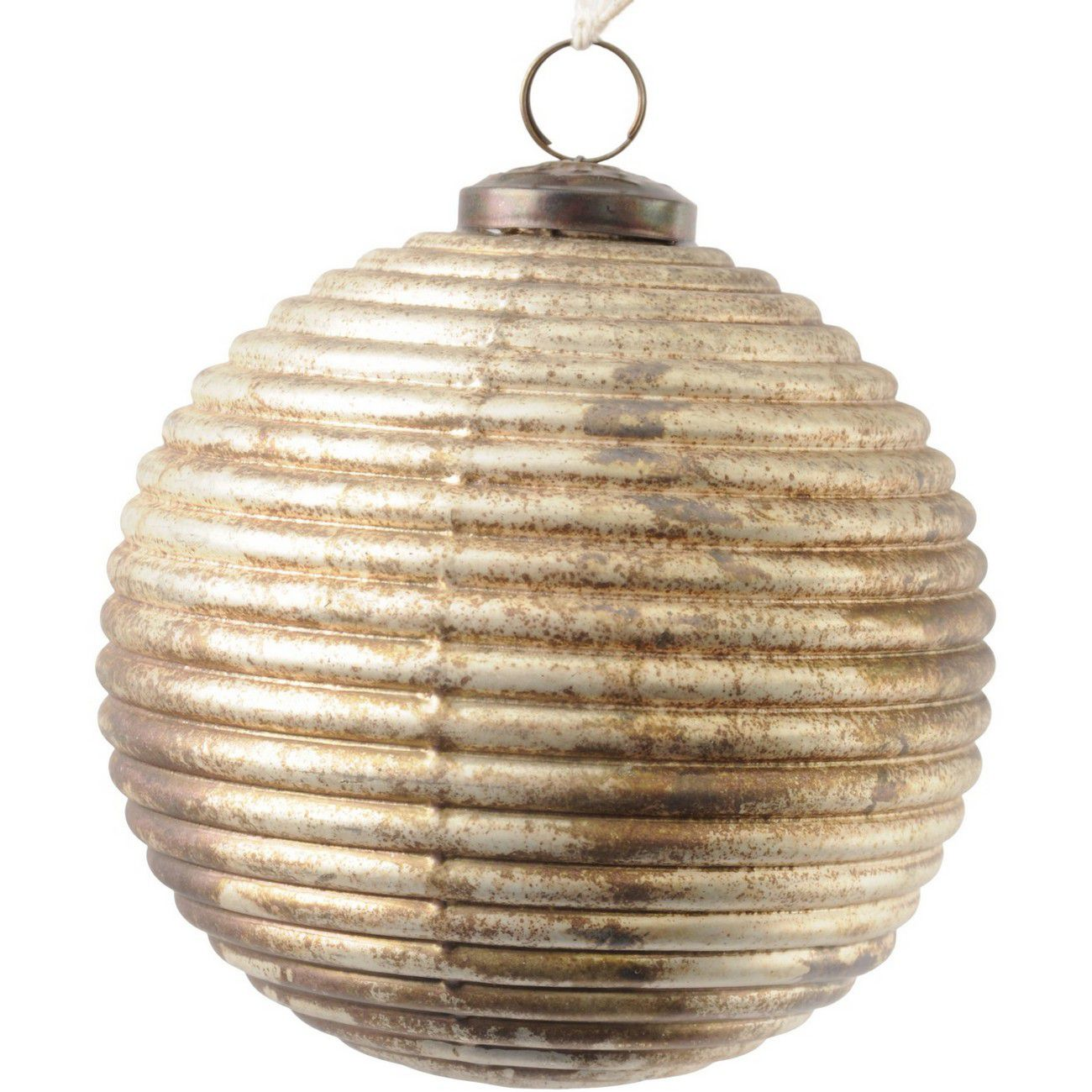 Antique Bronze Ribbed Large Sphere Ornament - Xmas thumbnail
