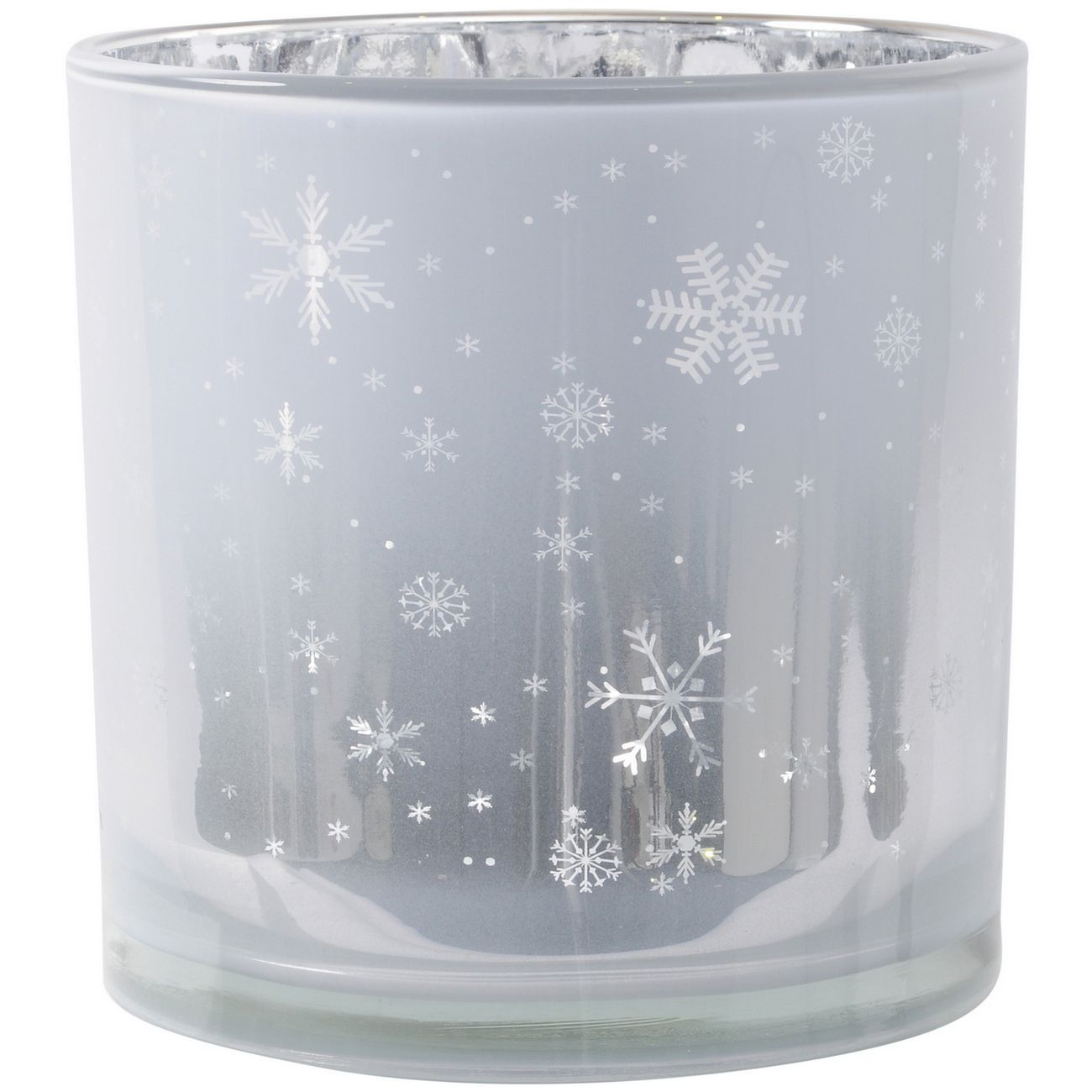 Festive Snowflake White And Silver Gloss Votive Holder - Xmas thumbnail