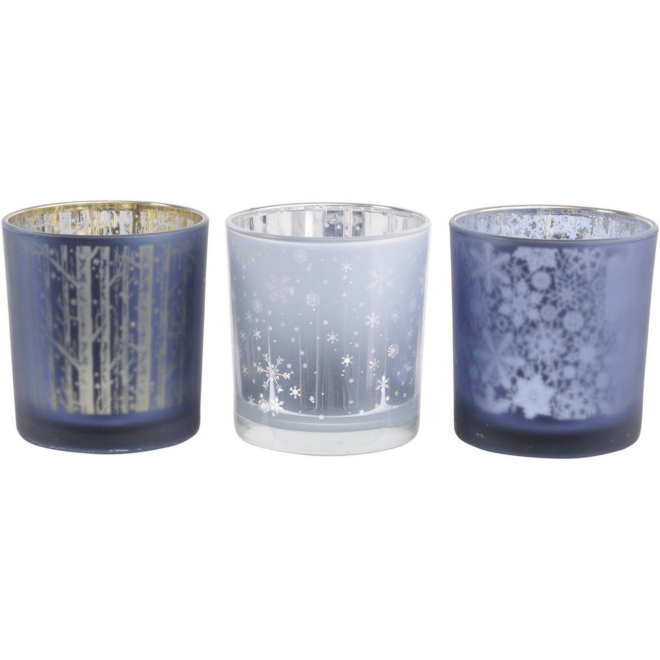 Festive Blue Set Of 3 Tealight Holders thumbnail