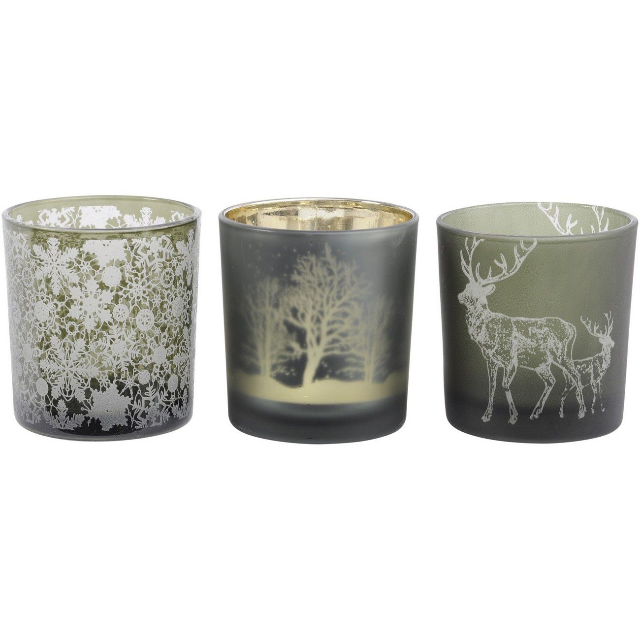 Festive Green Small Set Of 3 Tealight Holders thumbnail