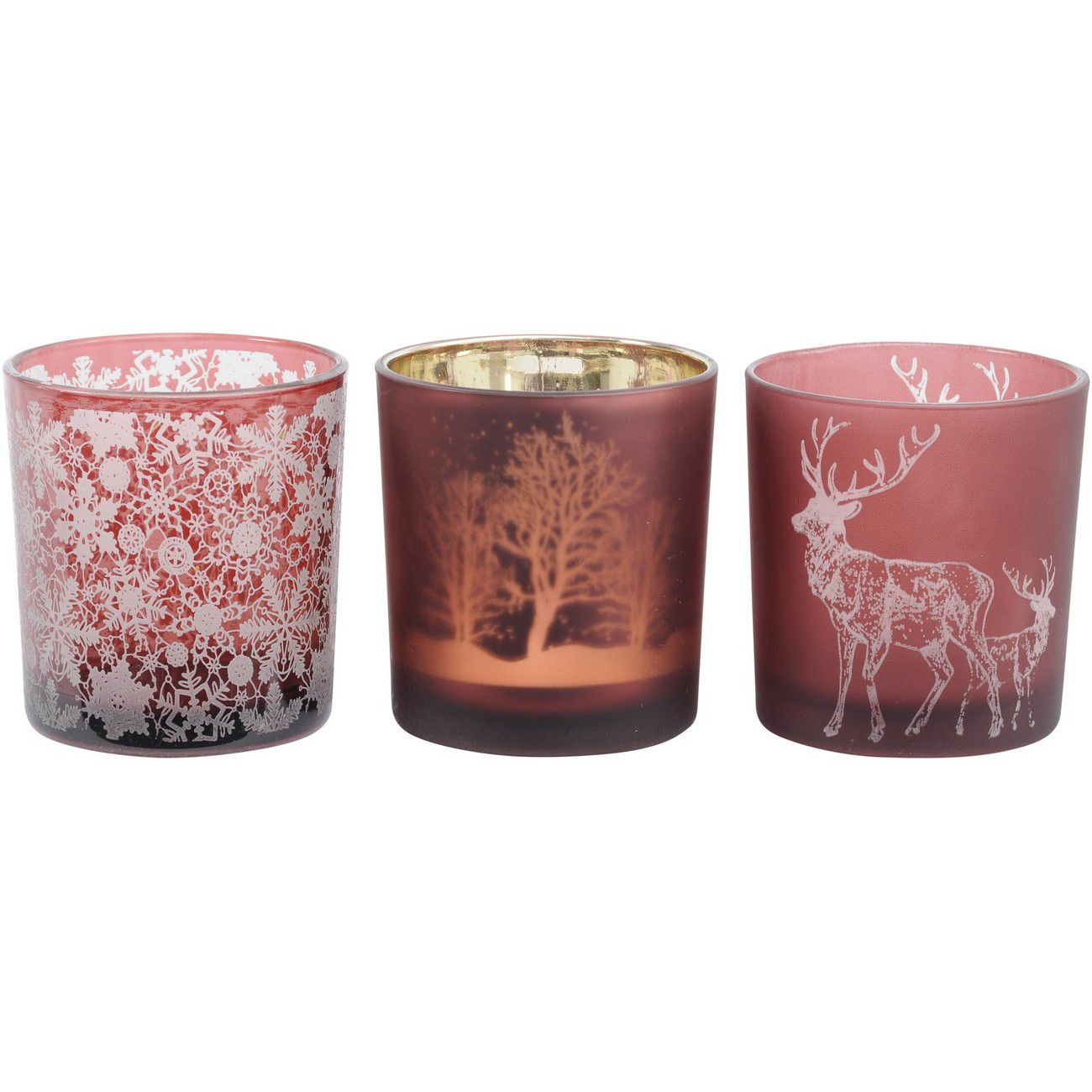 Festive Red Small Set Of 3 Tealight Holders thumbnail