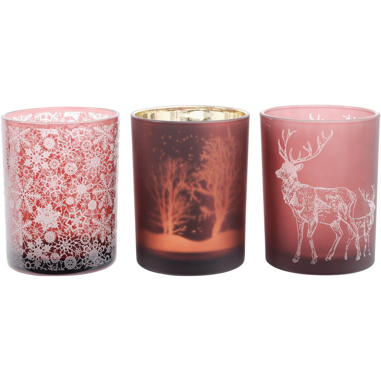 Festive Red Large Set Of 3 Votive Holders thumbnail