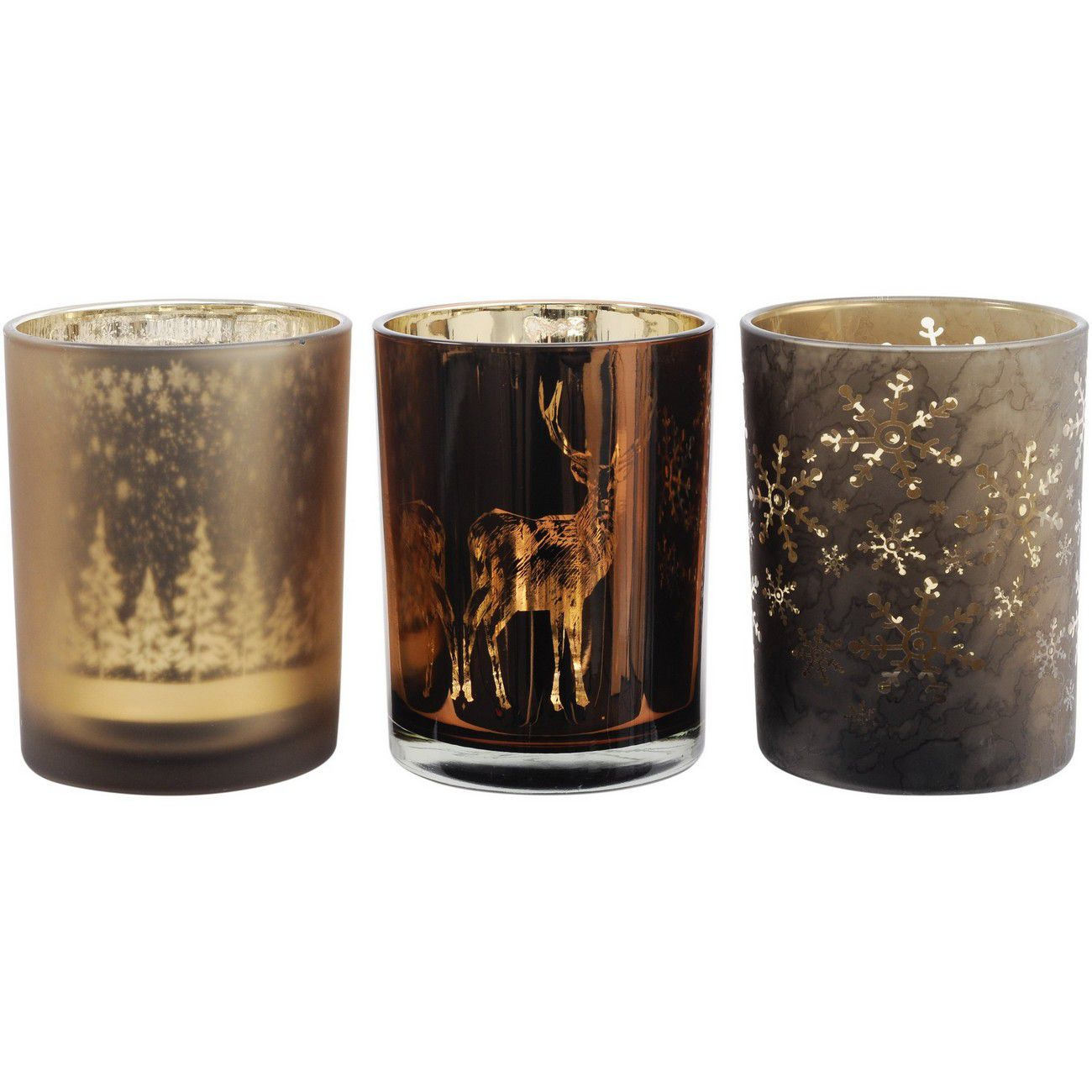 Festive Metallic Bronze Set Of 3 Large Votive Holders thumbnail