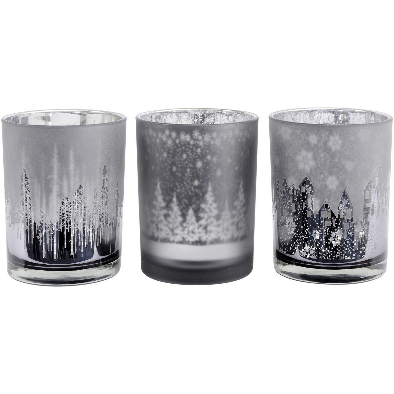 Festive Trees Silver And Smoke Set Of 3 Large Votive Holders thumbnail