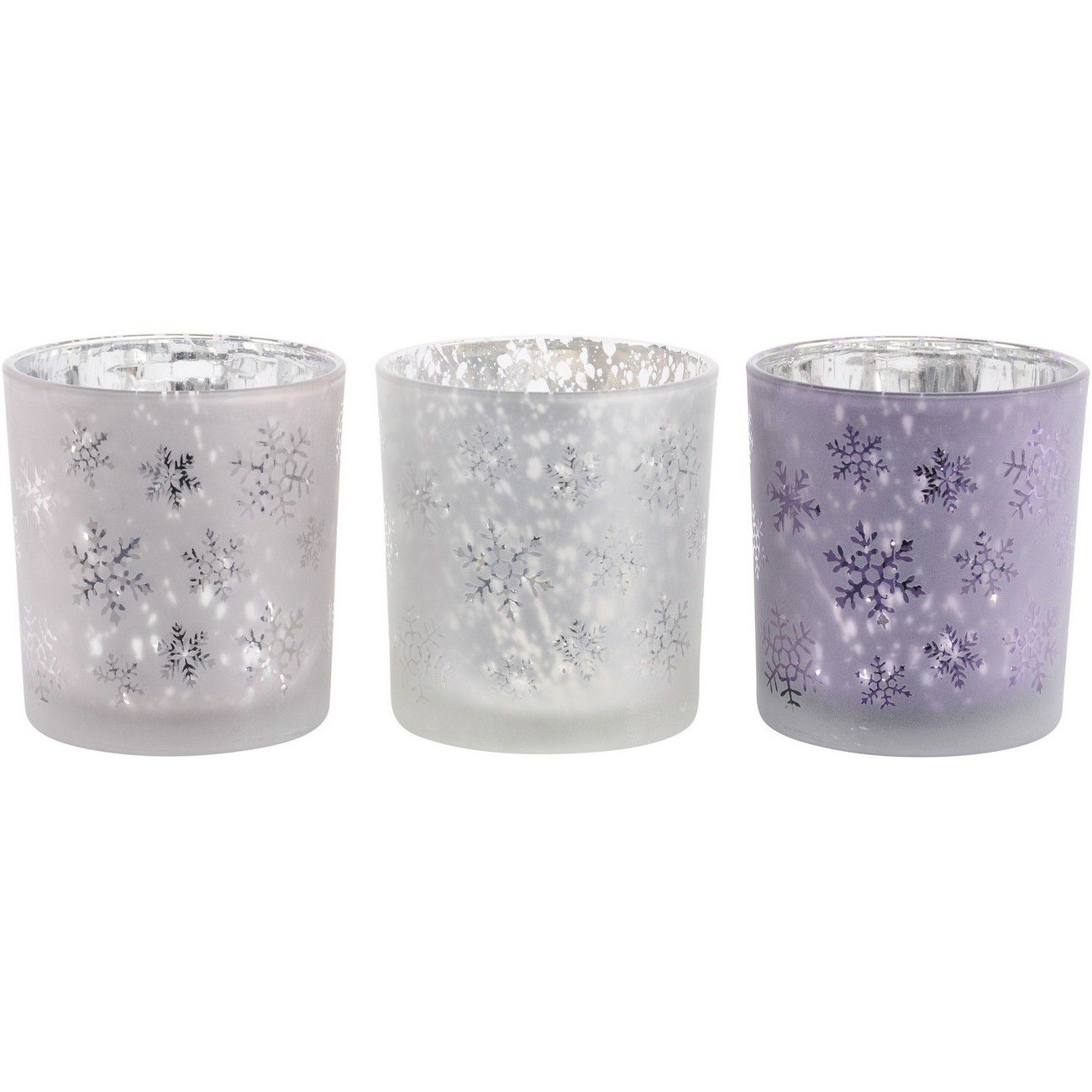 Festive Snowflake Pink, Purple And Blush Set Of 3 Tealight Holders thumbnail