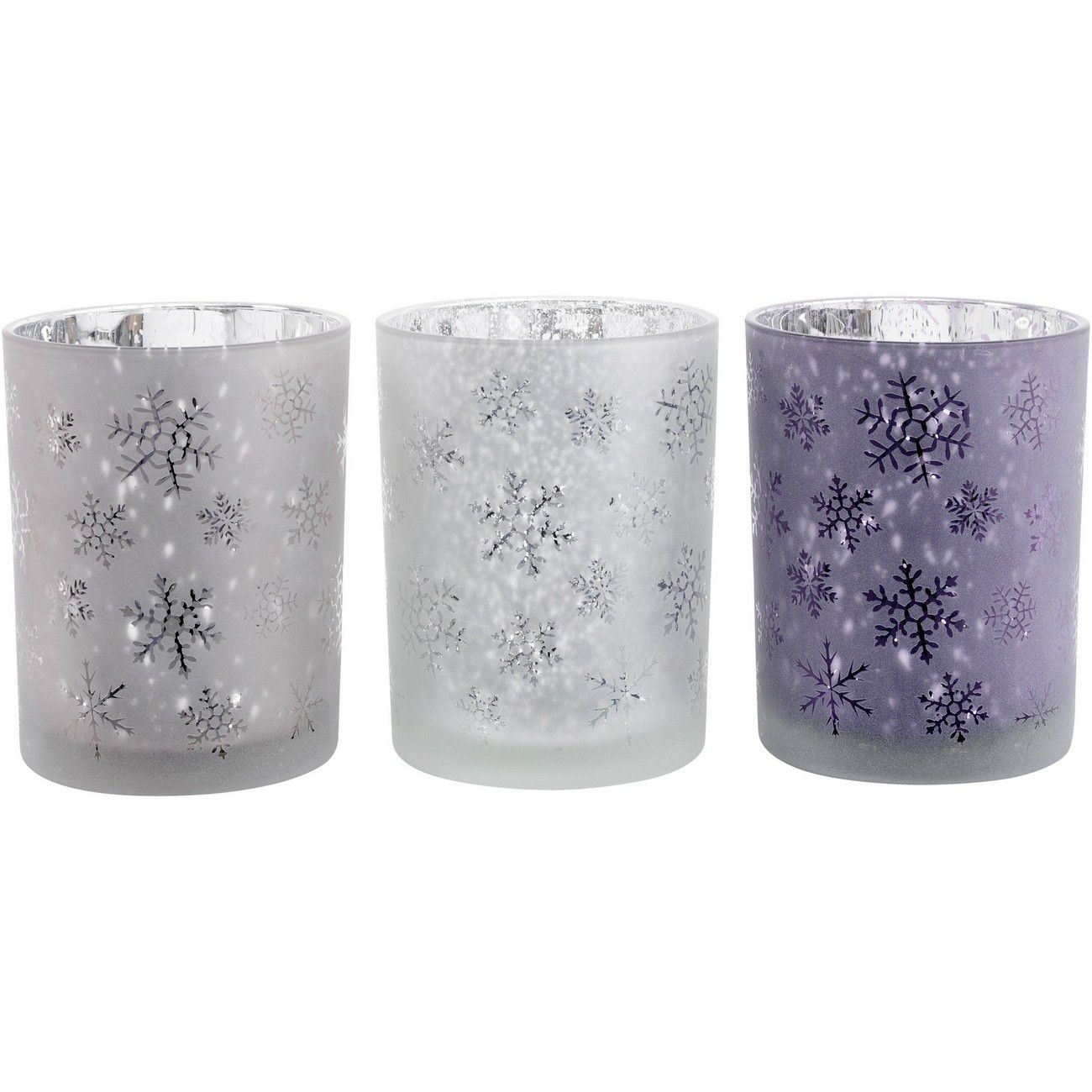 Festive Snowflake Pink, Purple And Blush Large Set Of 3 Votive Holders thumbnail