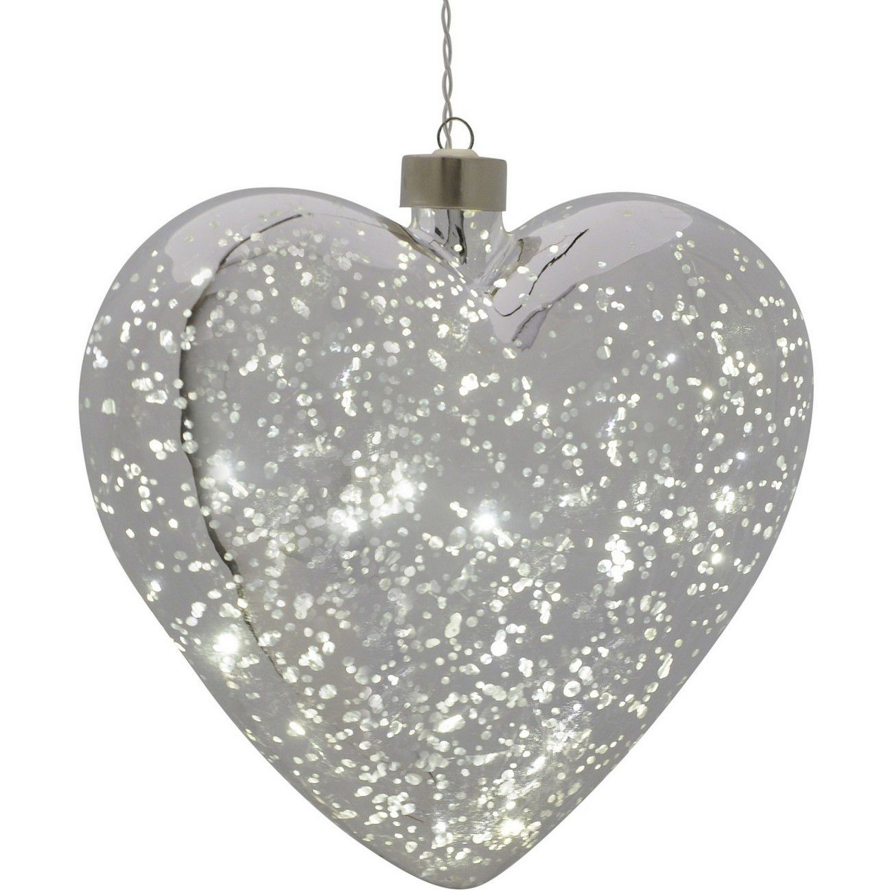 LED Large Silver Hanging Heart - Xmas-20 thumbnail