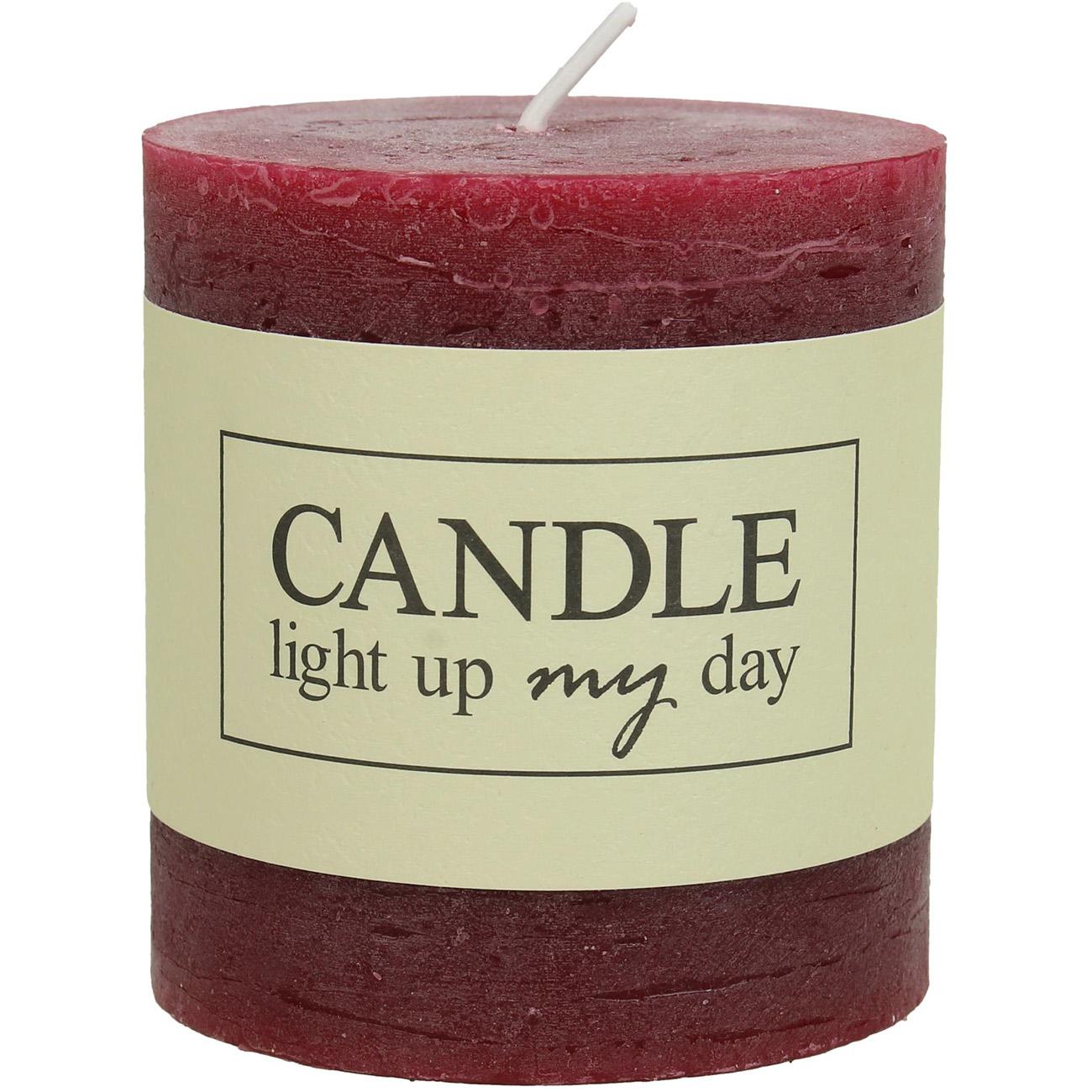 Burgundy Pillar Candle 7x7.5cm - Xmas-20 thumbnail
