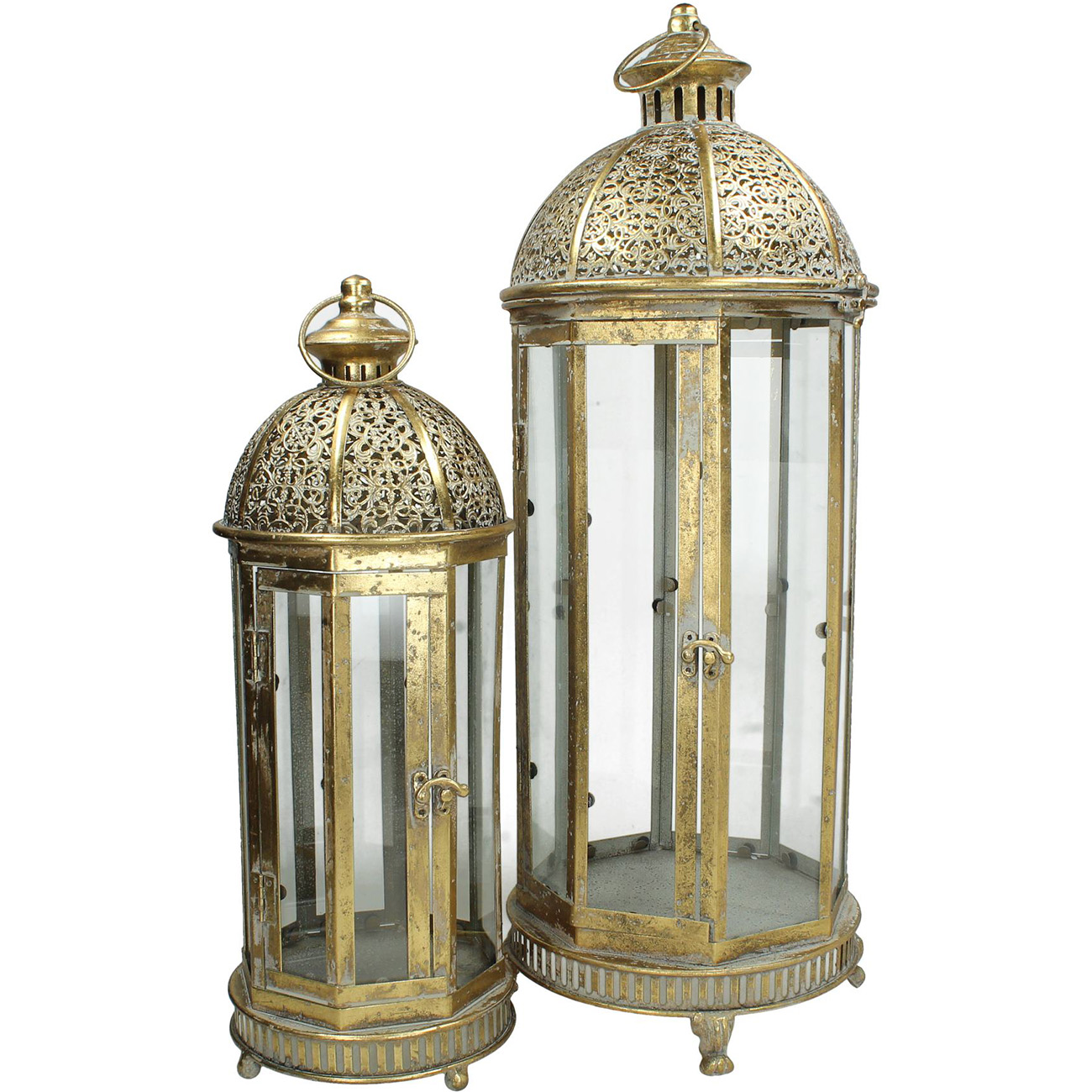 Set of 2 Tall Gold Lanterns - Xmas-20 thumbnail