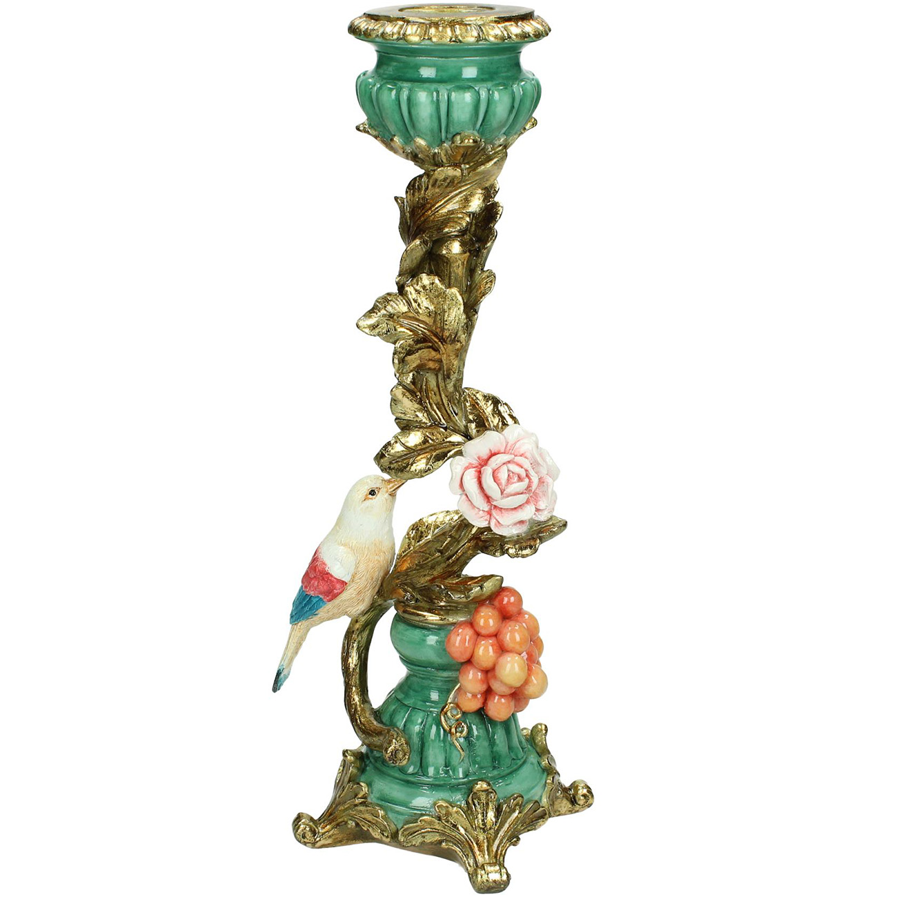 Colourful Gold Bird Candlestick 29cm - Xmas-20 thumbnail
