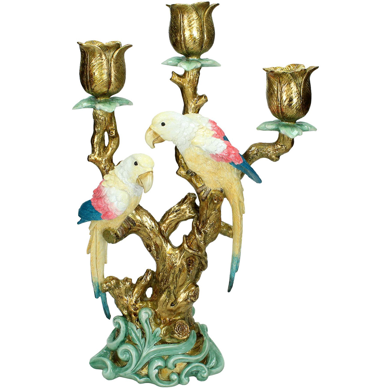 Colourful Gold Parrot Candlestick 38cm - Xmas-20 thumbnail