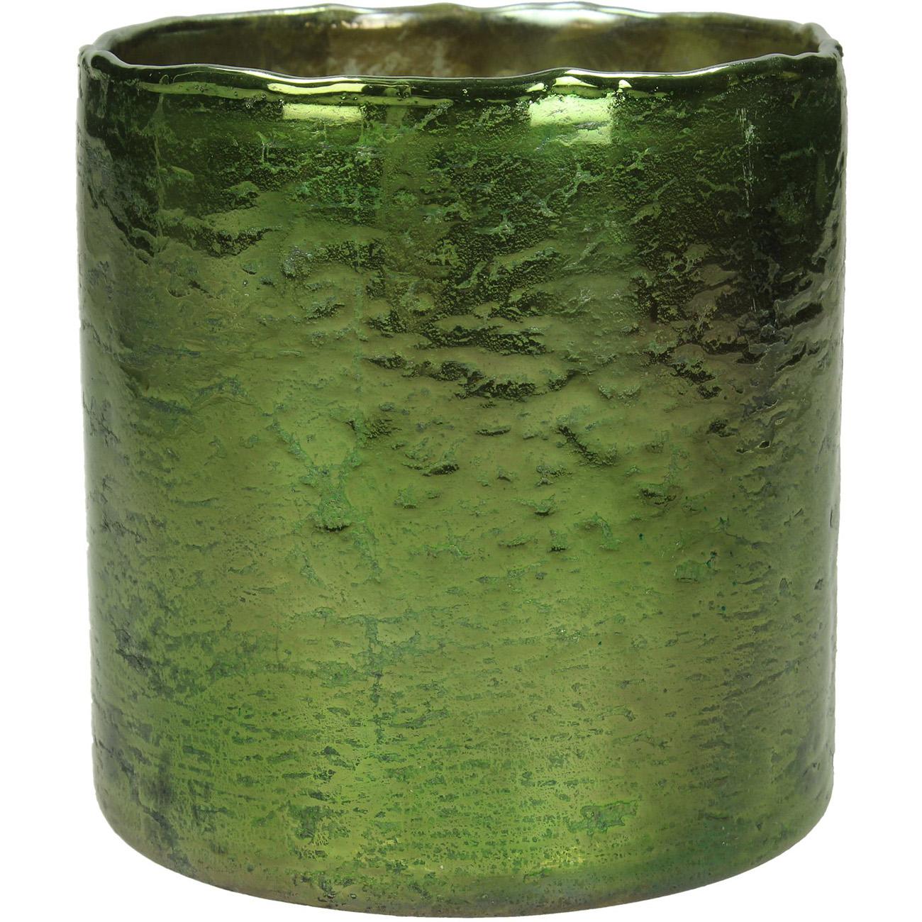 Green Glass Votive Holder 12cm - Xmas-20 thumbnail