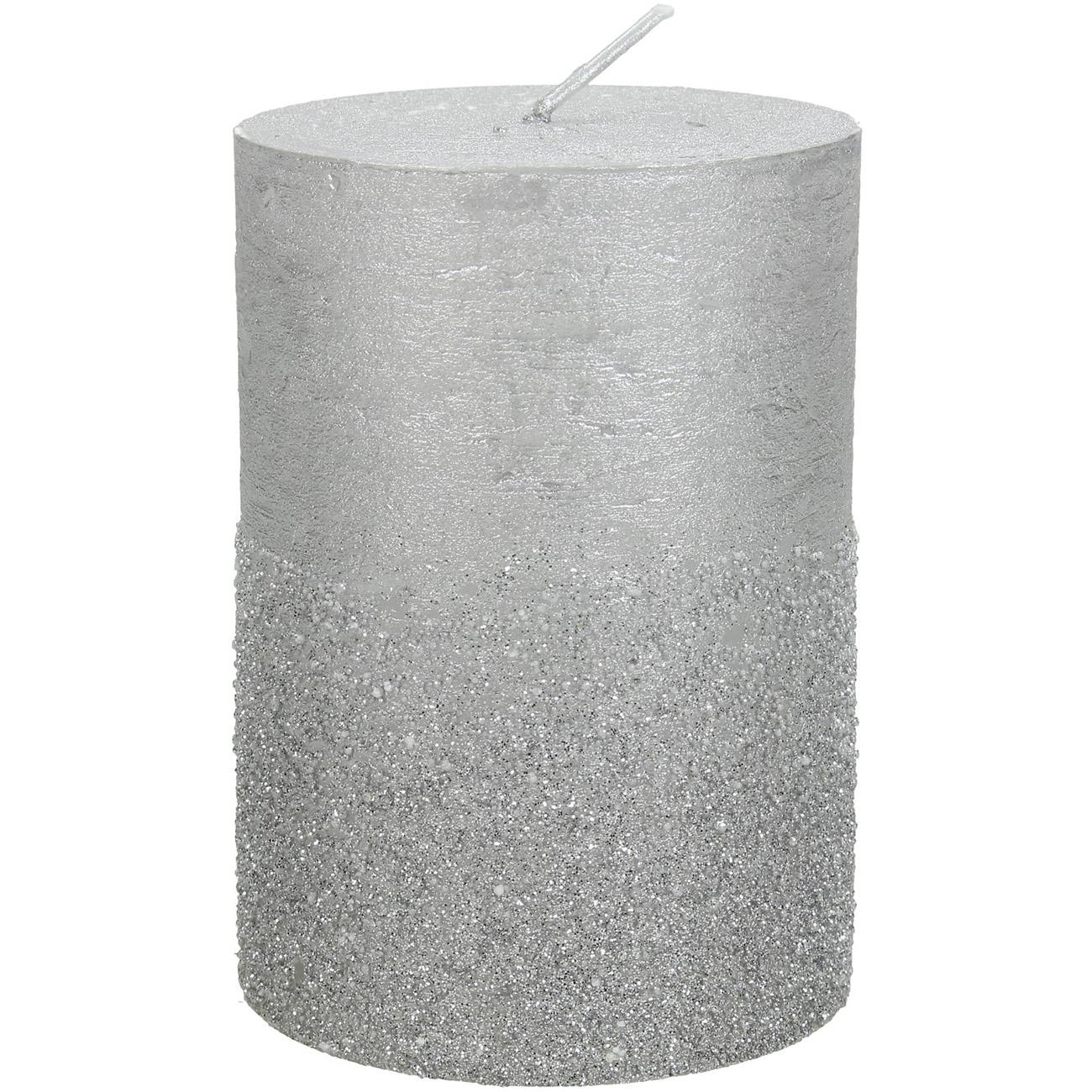 Silver Glitter Pillar Candle 7x10cm thumbnail