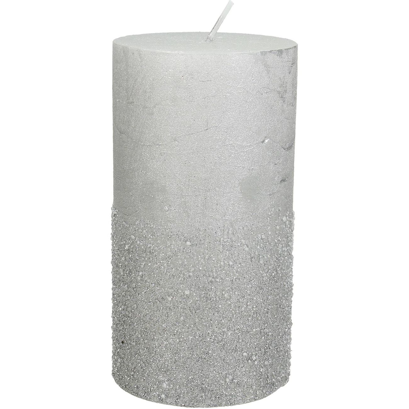 Silver Glitter Pillar Candle 7x13cm thumbnail