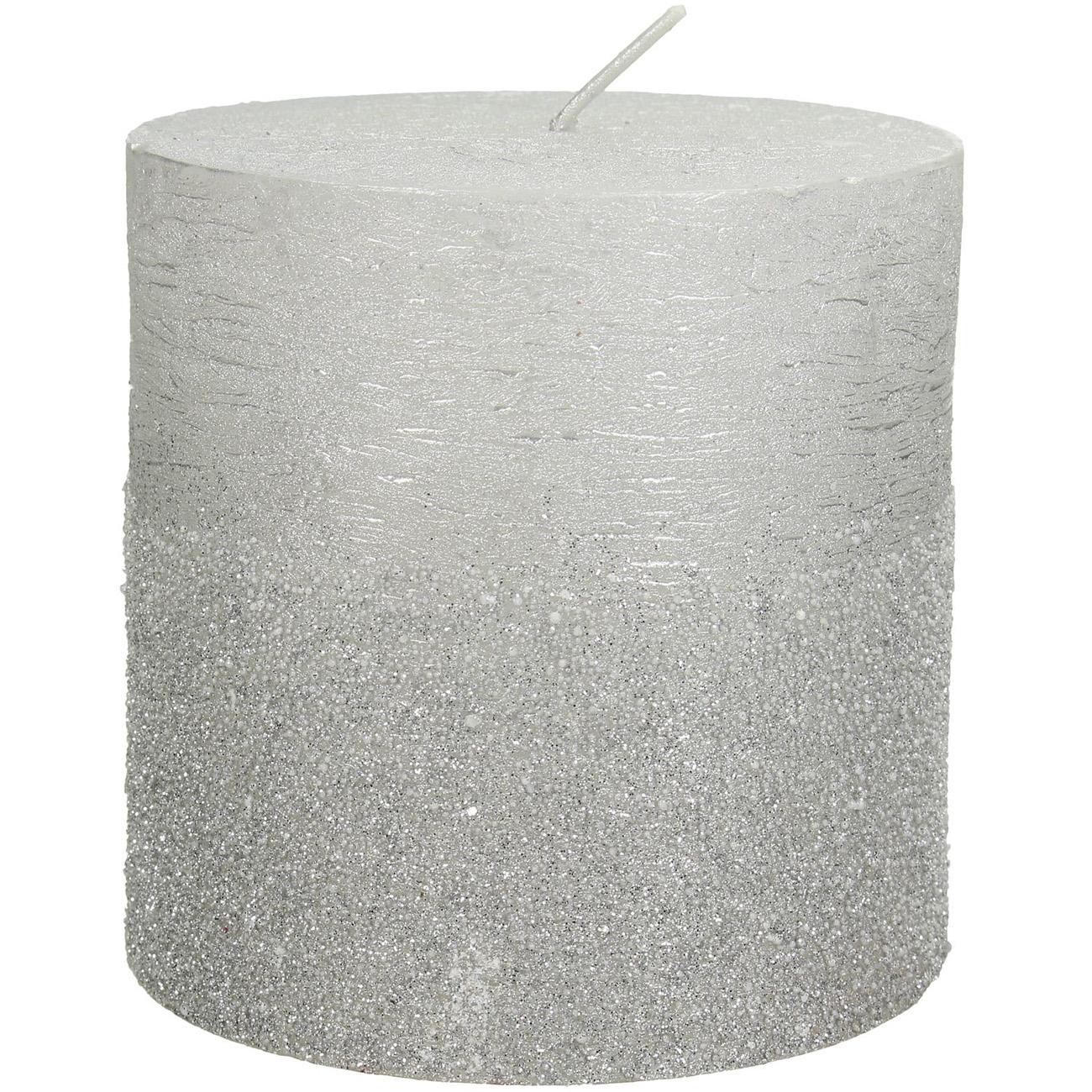 Silver Glitter Pillar Candle 10x10cm thumbnail