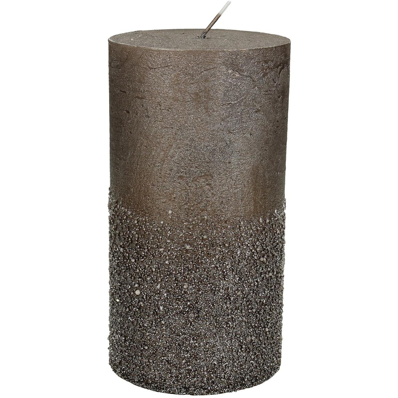 Brown Glitter Pillar Candle 7x13cm - Xmas-20 thumbnail
