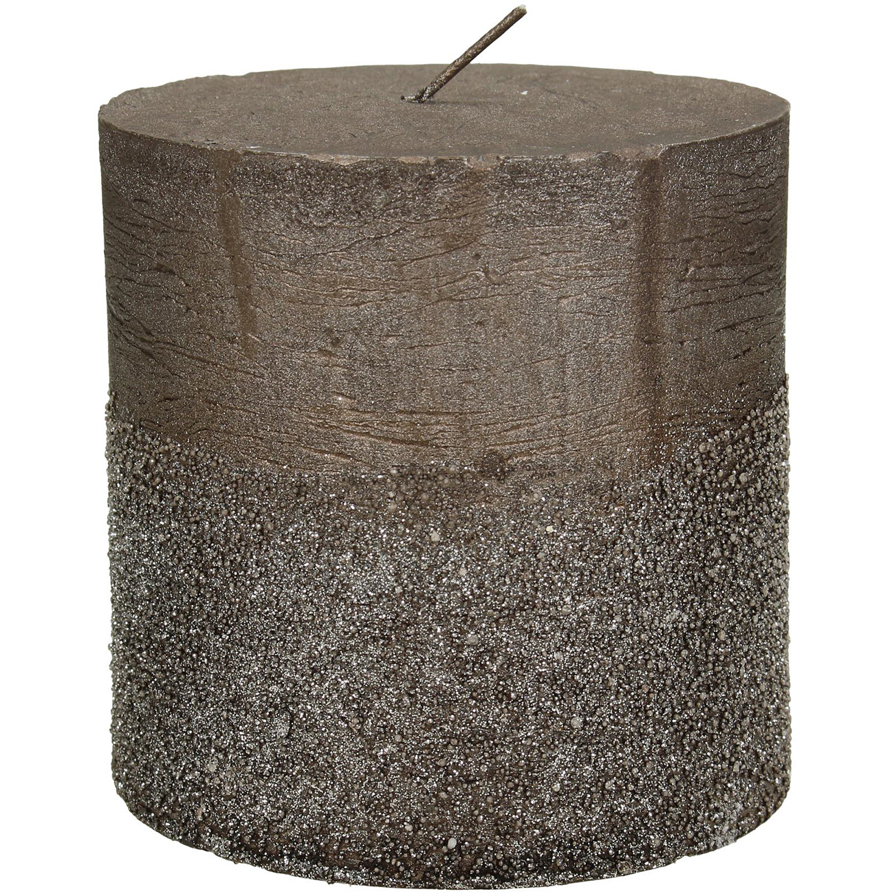 Brown Glitter Pillar Candle 10x10cm - Xmas-20 thumbnail