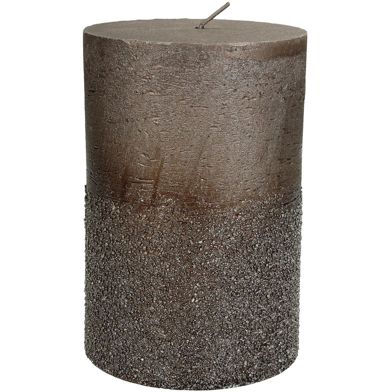 Brown Glitter Pillar Candle 10x15cm - Xmas-20 thumbnail