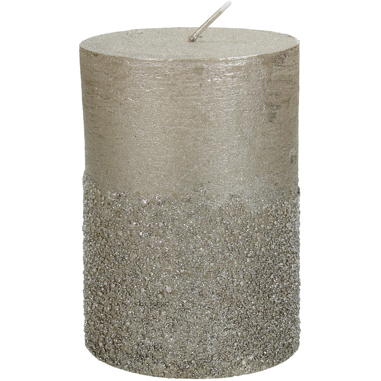 Champagne Glitter Pillar Candle 7x10cm - Xmas-20 thumbnail