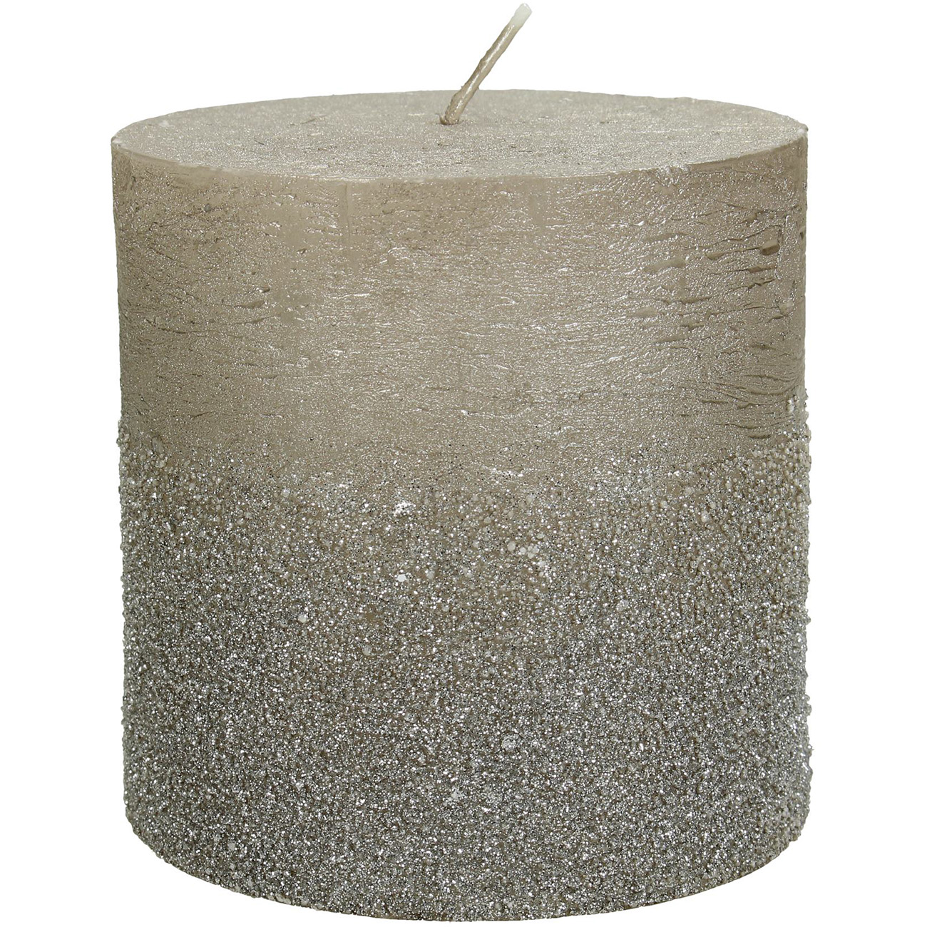 Champagne Glitter Pillar Candle 10x10cm - Xmas-20 thumbnail