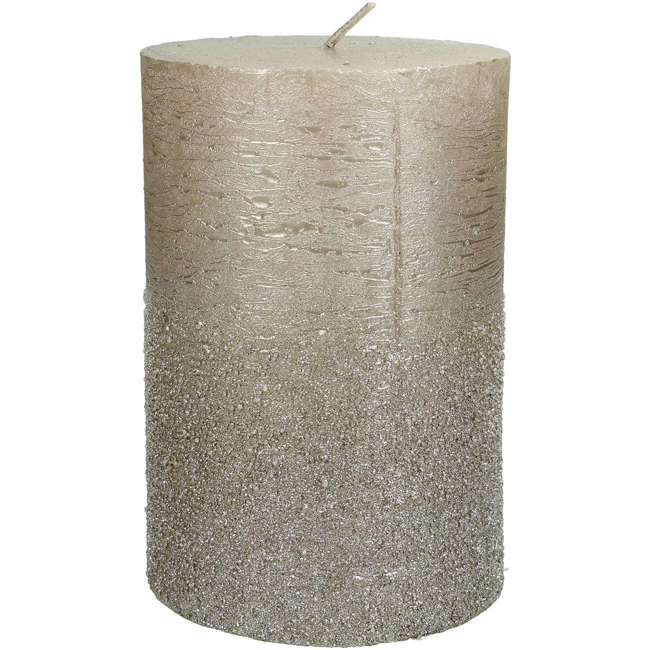 Champagne Glitter Pillar Candle 10x15cm - Xmas-20 thumbnail