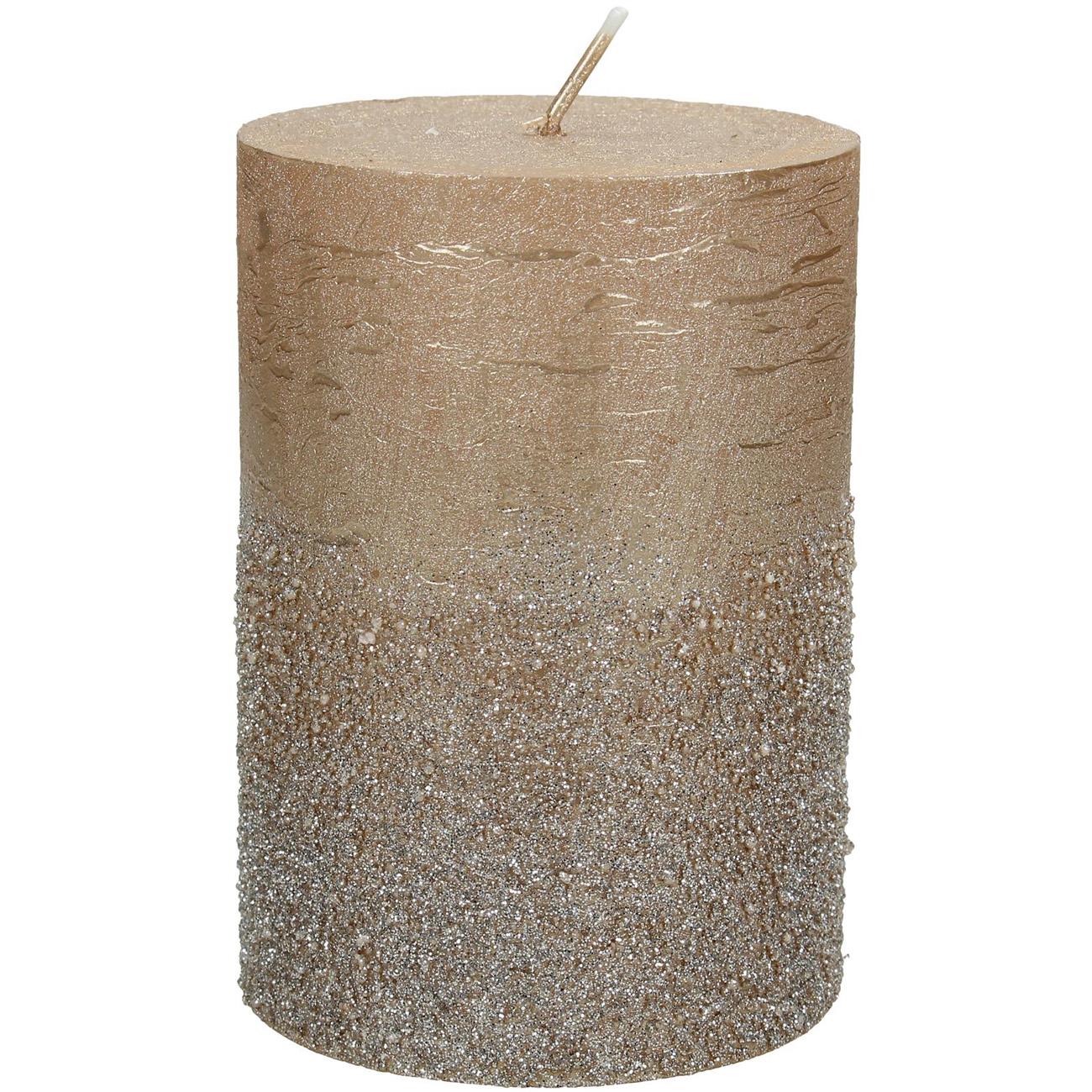 Gold Glitter Pillar Candle 7x10cm thumbnail