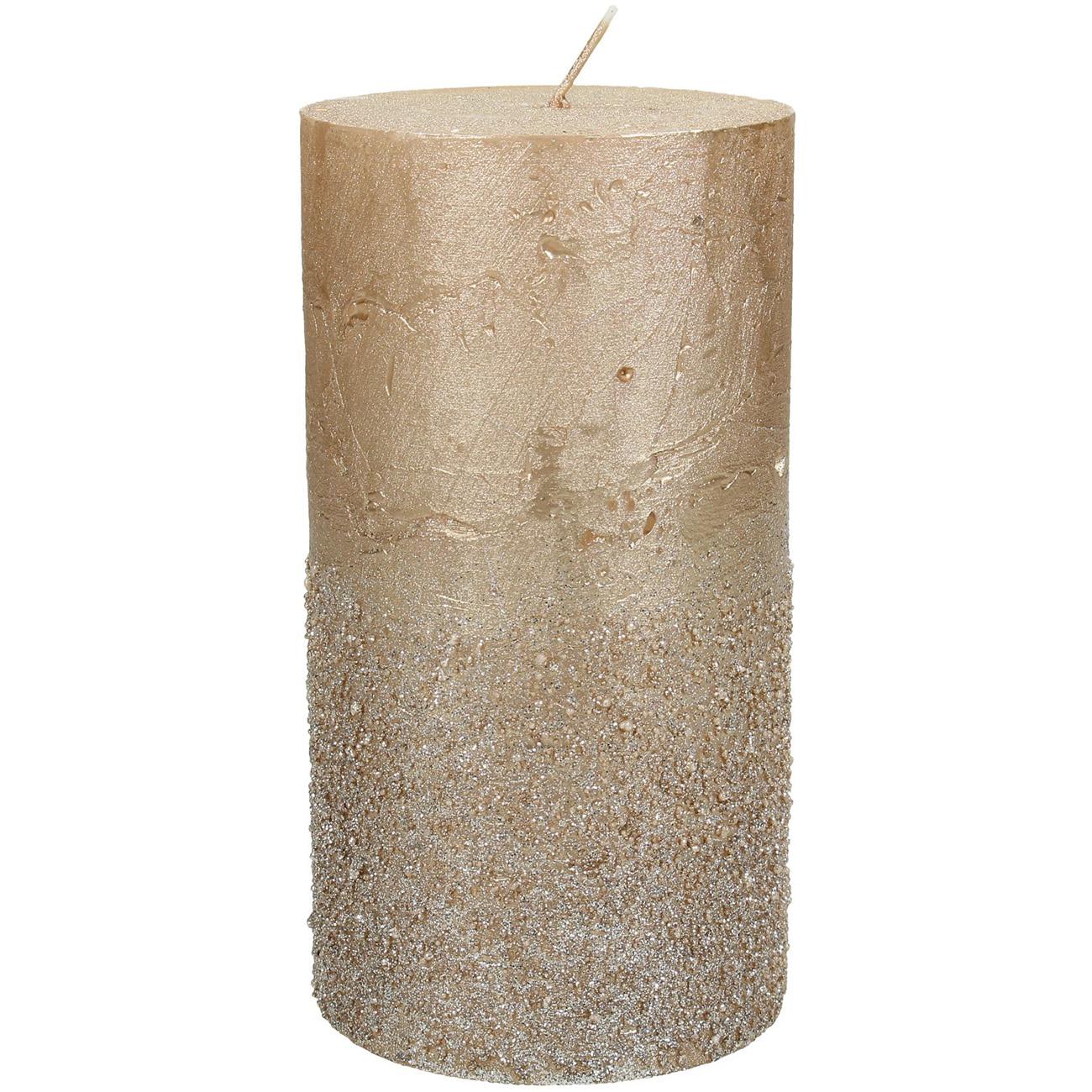 Gold Glitter Pillar Candle 7x13cm thumbnail