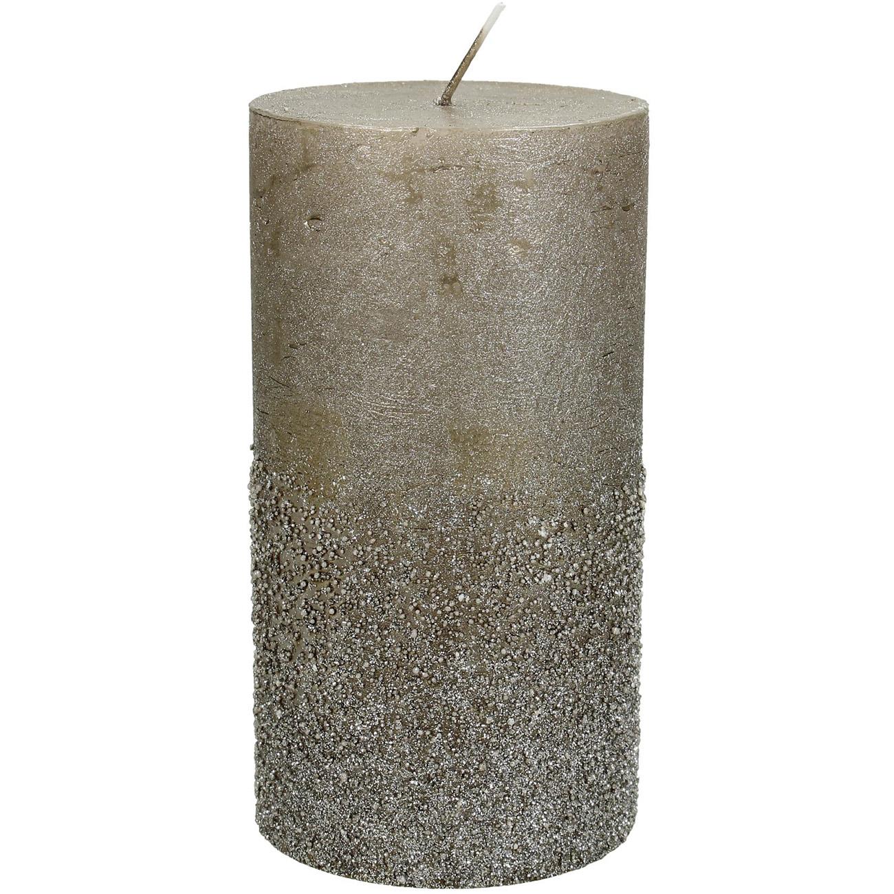 Taupe Glitter Pillar Candle 7x13cm - Xmas-20 thumbnail
