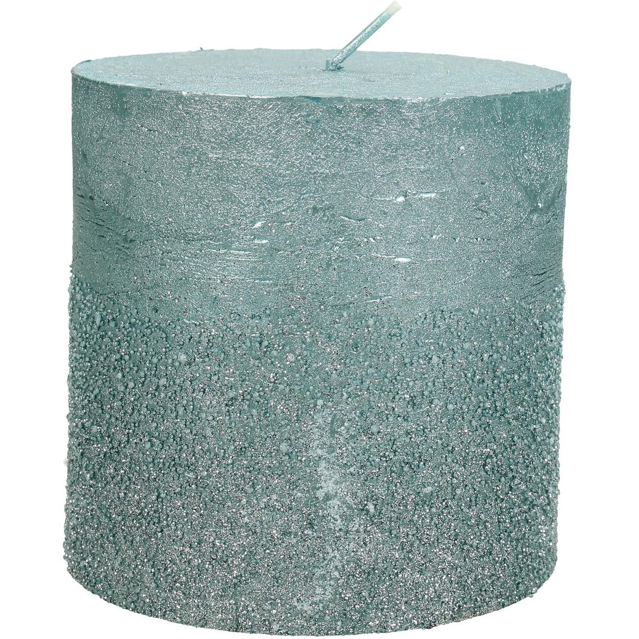 Blue Glitter Pillar Candle 10x10cm - Xmas-20 thumbnail