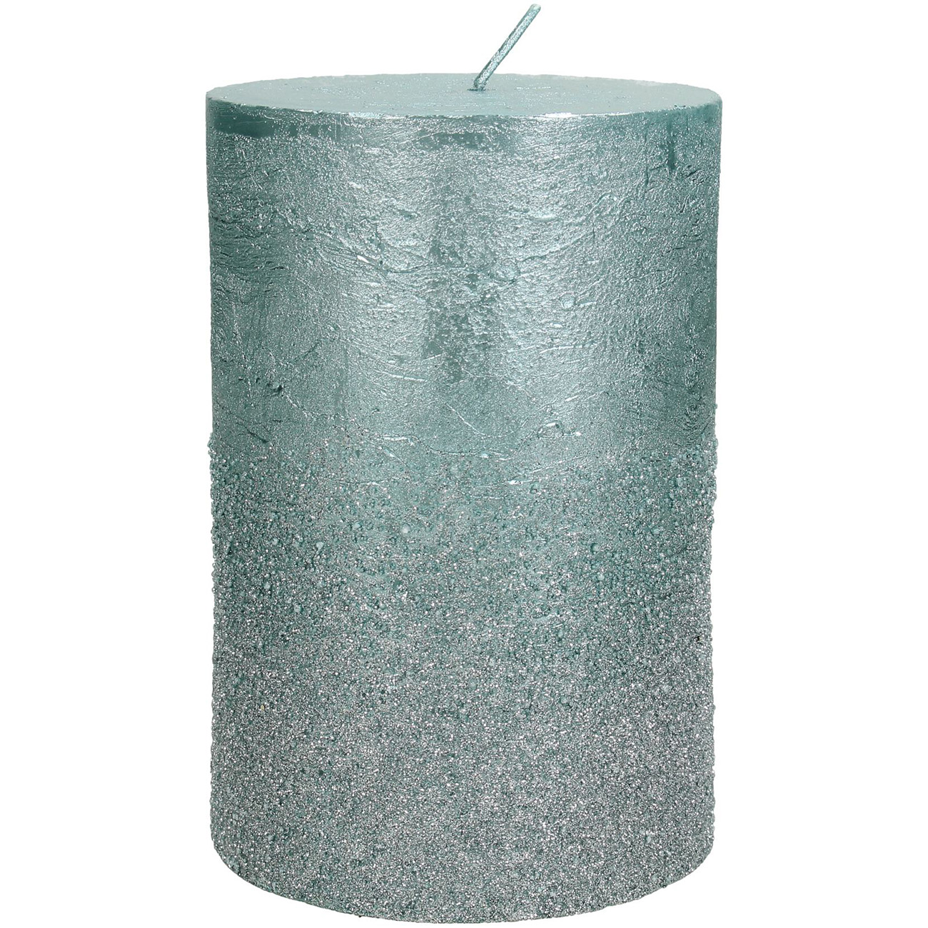 Blue Glitter Pillar Candle 10x15cm thumbnail